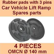 Set de 4 plaquettes de OMCN 2 poste voiture ascenseur rampe de levage coussinets en caoutchouc +3 PINS - 140mm-Italie