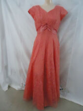 SALMON PINK LACE GOWN FORMAL DRESS Prom ARETHA COSTUME VTG 50s 60s Womens M MINT
