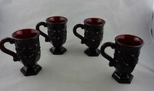 Irish Coffee Cups Ruby Red Glass Avon Cape Cod Collection Vintage 1980s Set of 4