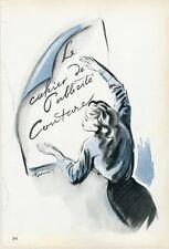 """""""CAHIER DE PUBLICITE COUTURE"""" Annonce originale entoilée PLAIRE 1945 BRENOT"""