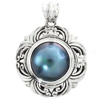 """1 1/8"""" PACIFIC OCEAN BLUE MABE PEARL HANDMADE 925 STERLING SILVER pendant"""