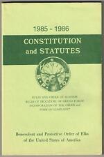 Vintage 1985-1986 BPOE Order of Elks CONSTITUTION AND STATUTES