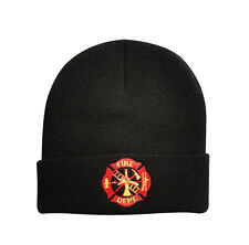 Knit Winter Beanie Acrylic Stocking Cap Embroidered FIRE DEPARTMENT Emblem Logo