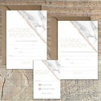 WEDDING INVITATIONS BLANK ROSE GOLD AND MARBLE PRINT EFFECT PACKS OF 10