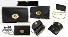 COACH Smith SMOOTH Black Calf Leather Clutch Crossbody removable chain 53277 NWT