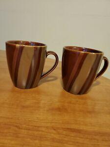 Vintage Art Deco Sango Avanti Brown Coffee Cup Mug Set of Two