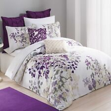 KAS  AUSTRALIA Twin Duvet Cover, WINCHESTER, Purple, White  Embroidered , NEW