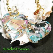 GLASS CEILING FAN LIGHT SWITCH PULL HEART BLUE AQUA PINK CLEAR LARGE PAIR  H121