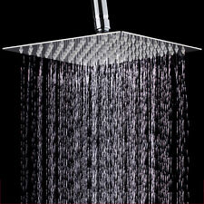 12'' Shower Head Bath Square Stainless Steel Waterfall Rain Bathroom Top Sprayer