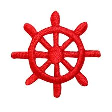 ID 2364D Ship Captain Steering Wheel Patch Boat Embroidered Iron On Applique