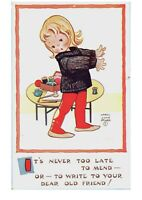 Girl Needs Sewing Help Write Your Dear Old Friend Postcard Mabel Lucie Attwell