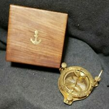 West London Brass Compass Ornate Nautical Sundial in Wooden Box