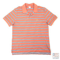 Brooks Brothers 346 Mens XL Short Sleeve Cotton Polo Shirt Striped Orange