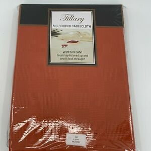 """Tillary Spice Color Microfiber Tablecloth Table Cloth 70"""" Round New Sealed"""