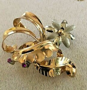 Floral Spray White Flower &  Ruby Brooch Pin in 18K Gold Two-Tone, 6.5grams