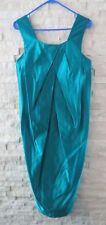 Vera Wang $1,050 Bright Turquoise Satin Silk Avant Garde Pleated Sheath Dress 8