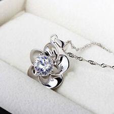 "1CT Diamond Plum Blossom Flower Heart Sterling Silver 18"" 925 love MOM Her--22"