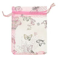 Wholesale 9x12cm Butterfly Organza Gift Pouch Bags Wedding X-mas Favor Pink