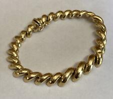 """BBB 14K Yellow Gold Diamond Cut San Marco Elbow Macaroni Link Bracelet 7"""""""
