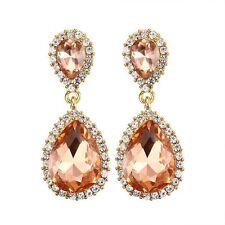 Women Fashion 18K Gold Plated Morganite Stud Drop Dangle Earring Wedding Jewelry