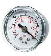 Vacuum Gauge -30*Hg & -1/0 Bar 50mm Dial 1/4 BSPT back connection.