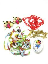 Vintage Costume Jewelry Lot Lucite Glass Fruit Basket 4 Pc Lot Necklace Earrings