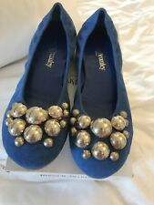 New Russell and bromley  Flat Ballerina Elasticated Bauble Blue Suede Shoes  40
