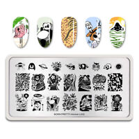 BORN PRETTY Nagel Stempel Schablone Rectangle Panda DIY Stempel Tool Animal L002