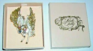 Vintage Kirk's Folly Unicorn/Pegasus Pin Brooch Goldtone White Enamel Charms