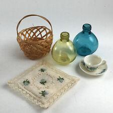 DOLLHOUSE MINIATURE Vintage Lot #19 Mini Woven Basket Glass Jugs Teacup