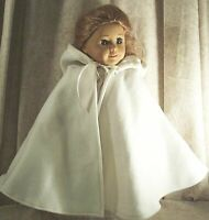 "Doll Clothes Made 2 Fit American Girl 18"" inch Cape Ivory Fleece with Hood"