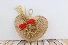 "Vintage Wheat Weaving Art Bow Fan Bundle Christmas Tree Ornament Hand Made 8"""