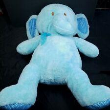 """Blue Elephant Giant Plush Stuffed Animal Blue White Polka Dot Paws 30"""" Large"""