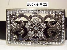 Women's Top Grain Leather Belt Black Size 46-52 -XXXXL w/Stone Buckle