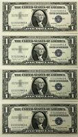 1957 Series A Uncirculated Silver Certificates (Lot of 4) Sequential Serial