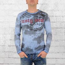 Rusty Neal Herren Longsleeve T-Shirt Force One blau Langarm Tshirt Männer