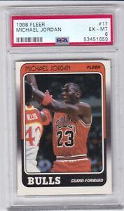 HT: 1988 Fleer Basketball Card #17 Michael Jordan Chicago Bulls - PSA 6