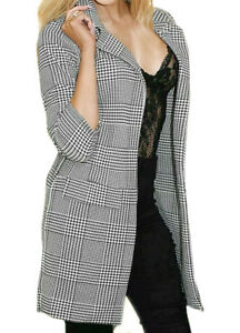 New Ladies Women Blazer Jacket Check Hounds Tooth Tartan 3/4 Sleeve Duster Coat