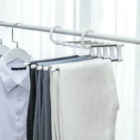 5in1 Multi-Layer Clothes Pants Trouser Hanger Rack Wardrobe Organize Space Saver