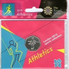 2012 50p OLYMPIC 03/29 ATHLETICS COIN HANGING BAG BRILLIANTLY UNCIRCULATED @