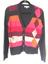 CABI Womens Size M Sweater Cardigan #171 Striped Red Orange Pink Gray Beige