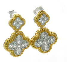 Solid 925 Sterling Silver Two-tone Clover Design CZ Earrings '