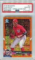 JUAN SOTO 2018 Bowman Chrome Orange Shimmer Refractor # / 25 rookie PSA 10 pop 2