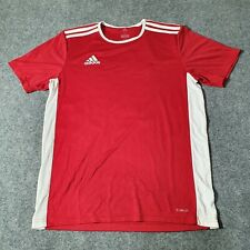 Adidas mens T shirt Adult Medium Red striped short sleeve White Size M