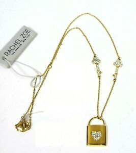 NEW RACHEL ZOE STERLING SILVER GOLD PLATED CZ HEART PADLOCK,KEY CHARM NECKLACE