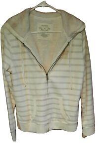 Sonoma Full Zip Cream/Grey Stripe Sherpa Faux Fur Lined Hoodie Women Size M NWT