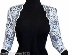 Ladies stretch Lace 3/4 sleeve Bolero Shrug Jacket Sizes 10-20 by Lowlita Design
