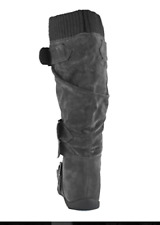 Cambridge Select Women Buckle Sweater Knee High Flat Boot, light gray, size 6.5
