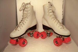 Vintage Labeda Roller Star Roller Derby Skates White Orange Women Size 7