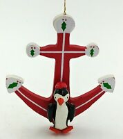 """VTG Talbots Wooden Penguin Anchor Nautical Red Christmas Holiday Ornament 4.5"""""""